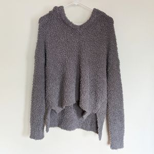 POL Fuzzy Gray Pullover Hooded Sweater